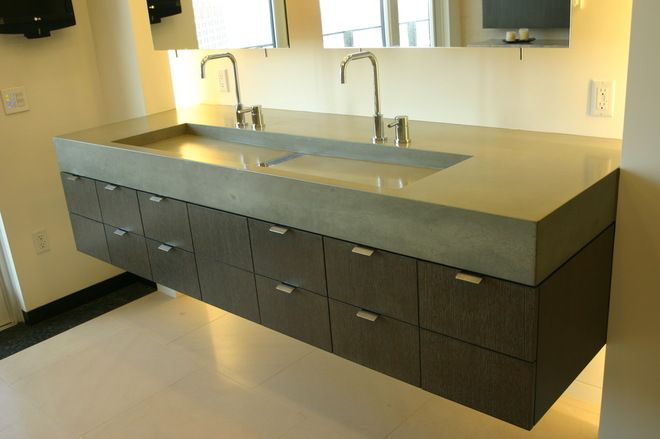 Two Faucets Long Sink For Bathroom Bathrrom Sinks Modern
