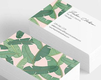 tropical business card printed business cards custom business card palm leaf business card