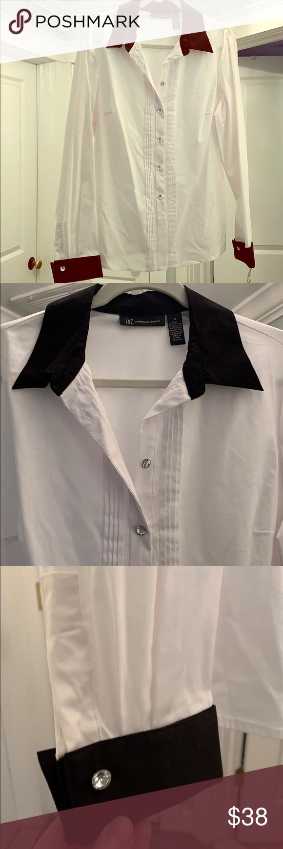 Inc Black White Collared Dress Shirt W Rhinestones Collar Dress White Collar Dress Shirt Beautiful Shirt [ 1740 x 580 Pixel ]