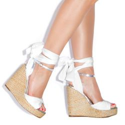 Cute White and Silver Wedges