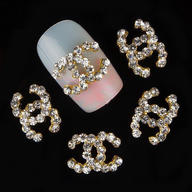 gold alloy glitter cc logo 3d nail art decoration