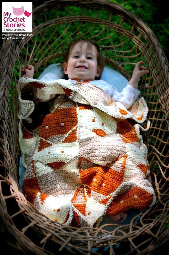 Baby Crochet Pattern Fox Baby Blanket Pattern por MyCrochetStories