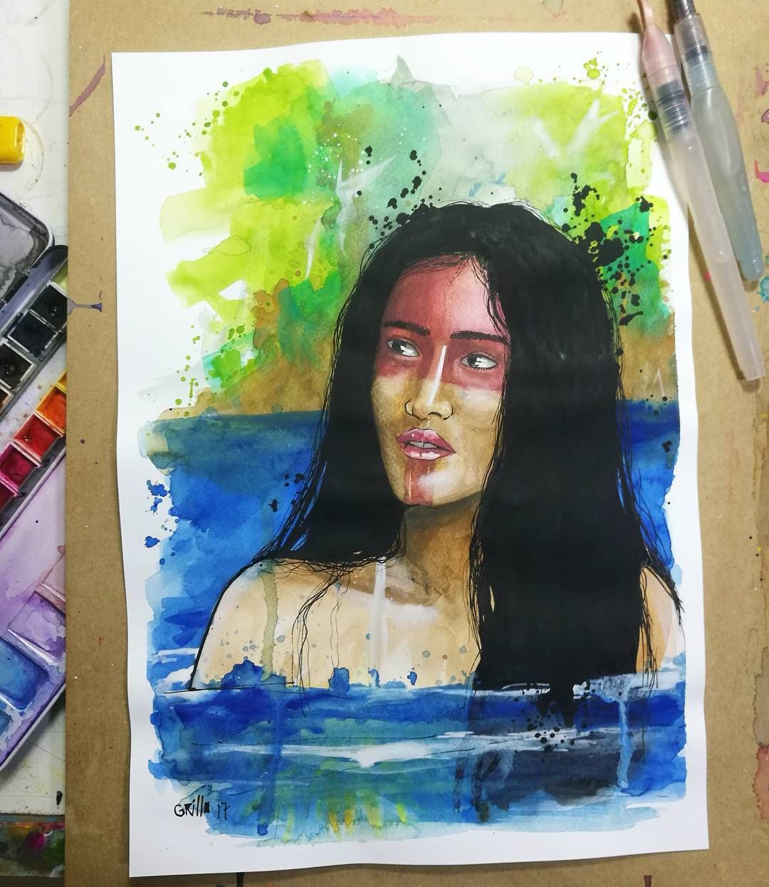 "44 Me gusta, 2 comentarios - Grillo Benitez Balcinha (@grillote69) en Instagram: ""#watercolorpainting #watercolor #acuarelas #paraguay #nativa #mujernativa #guaraní"""