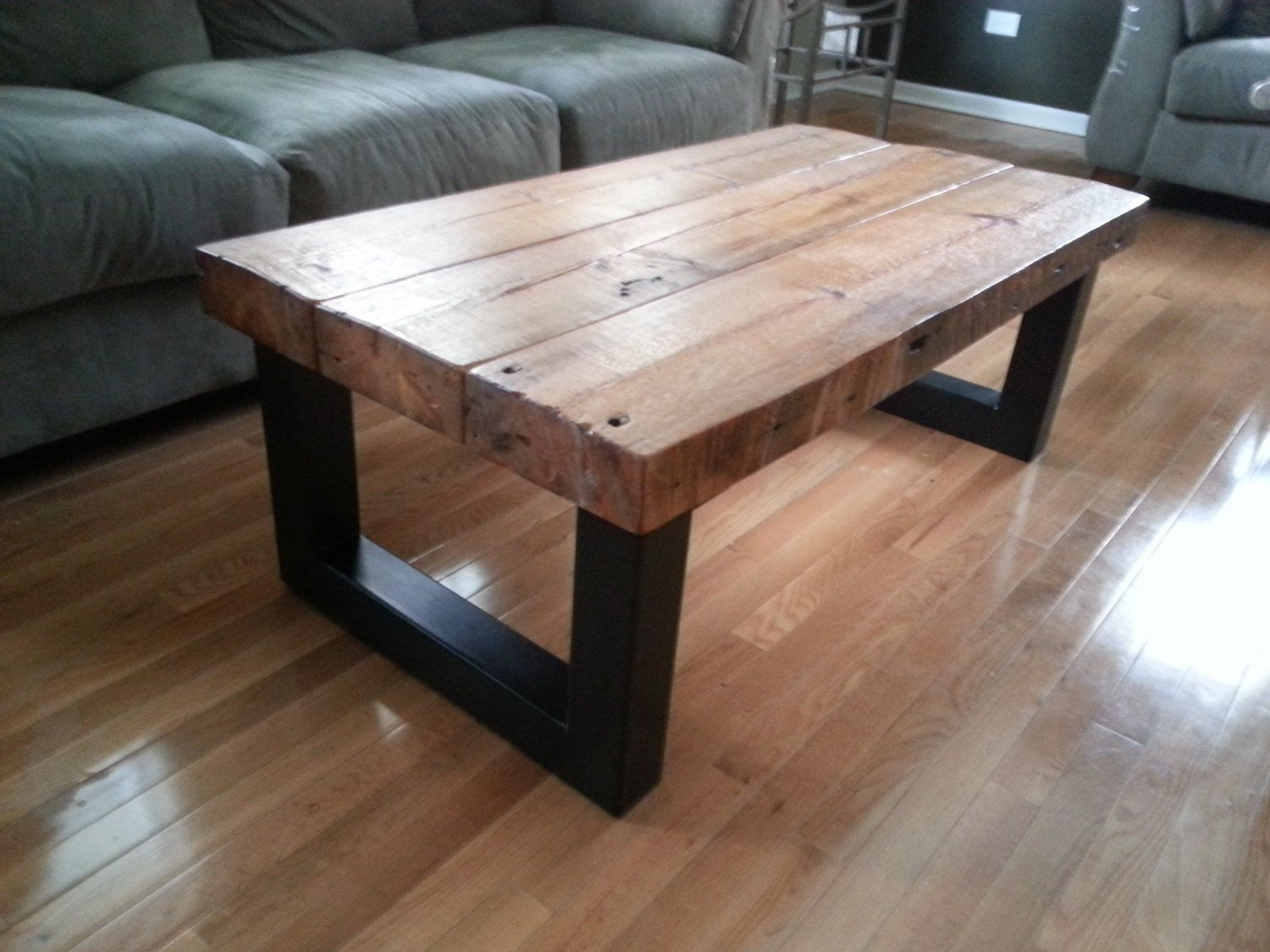 Metal And Wood Kitchen Table Custom Barn Wood Kitchen Table With Square Metal Frame