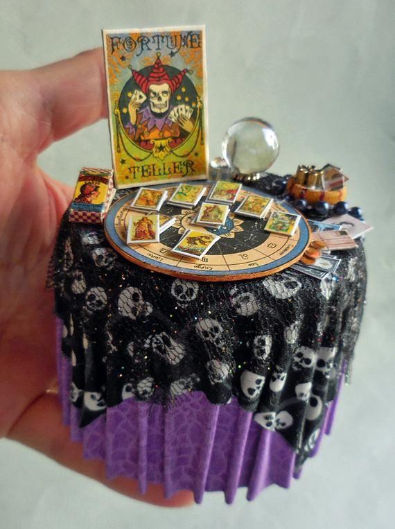 Dollhouse Miniature Halloween Fortune Teller Table, Artisan Made, 1:12 #haunteddollhouse