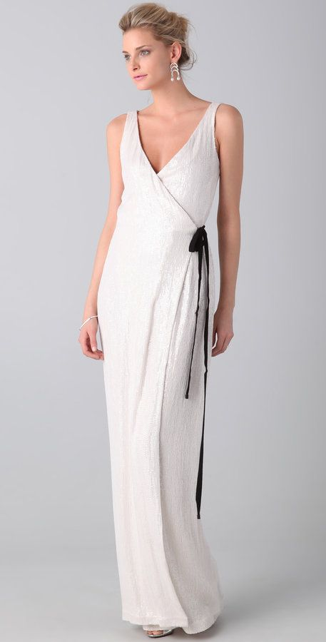 Diane Von Furstenberg White Yazhi sequined gown wrap dress | Diane ...