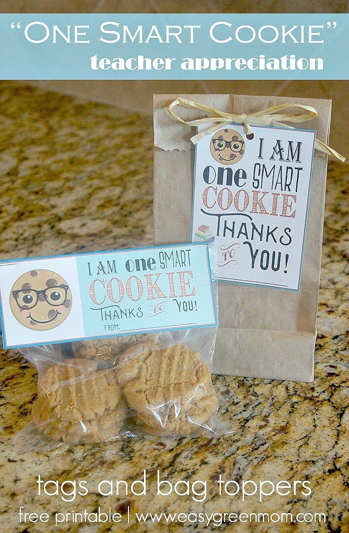One smart cookie tag and bag topper free printable teacher one smart cookie teacher appreciation free printables tags and bag toppers negle Image collections