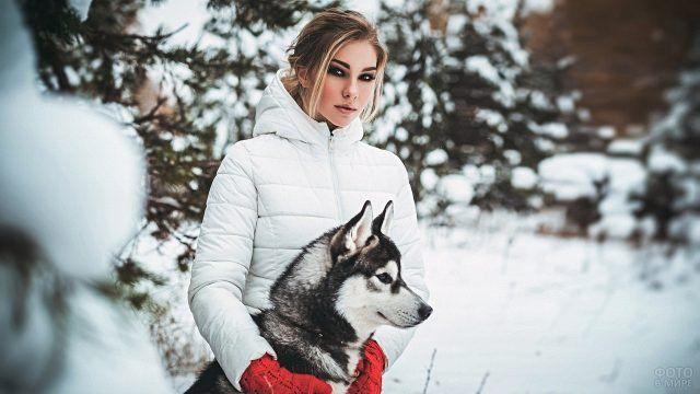 Девушки с собаками (32 фото) | Собаки, Хаски и Улыбающаяся ...