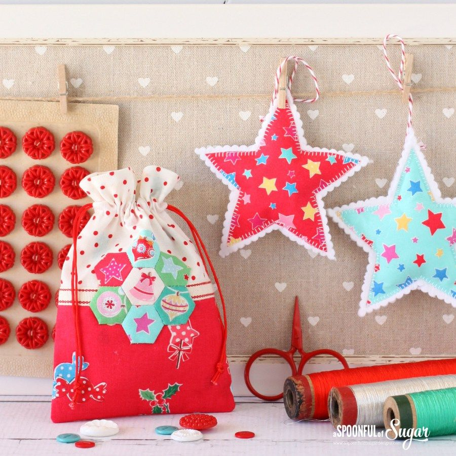 Christmas Retro Drawstring Bags Christmas Sewing Fabric Gifts Small Gifts