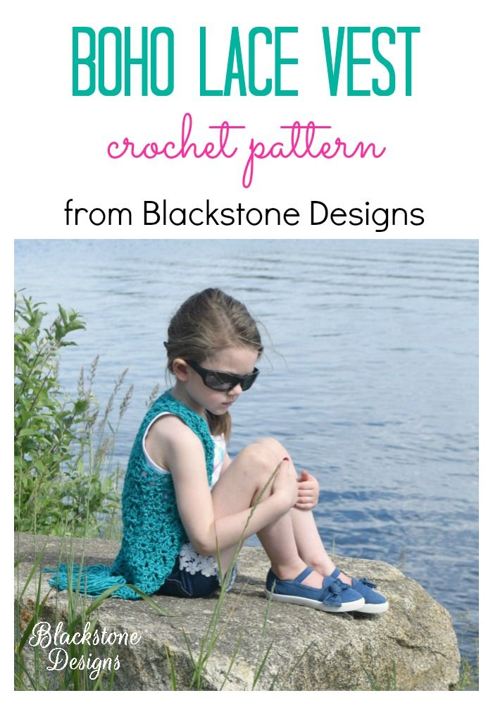 Boho Lace Vest Child Pdf Pattern Only Fall Spring Summer Vest
