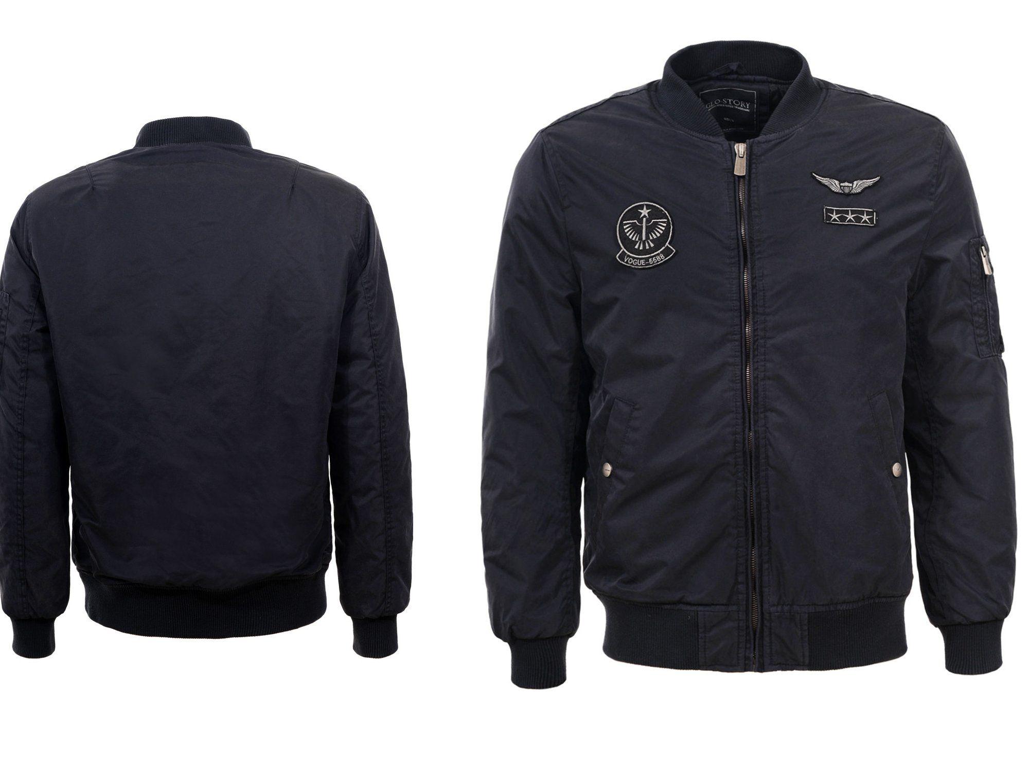 Kurtka Meska Bomberka Jesienna Zimowa Granat L 6950899397 Oficjalne Archiwum Allegro Athletic Jacket Motorcycle Jacket Jackets