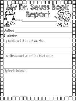 Dr seuss book reports kindergarten