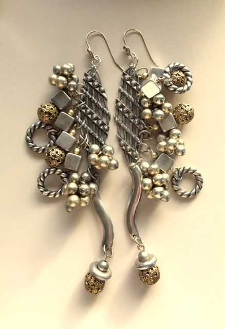 Very Long Large Chunky Silver and Brass Colored by MagicalUniverse