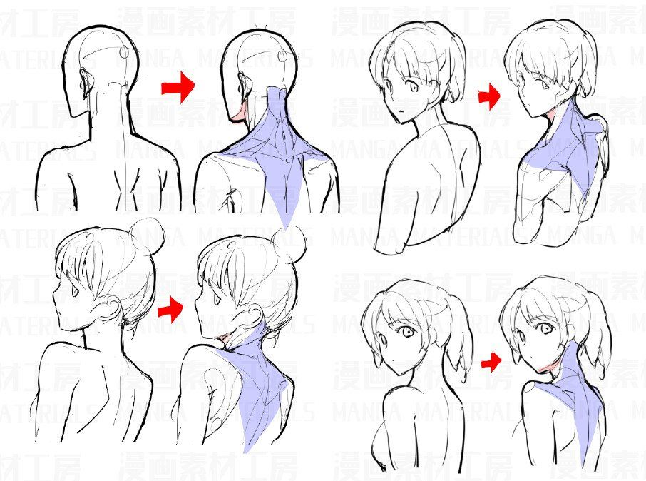 Back And Side Profile Pose Shoulders Back Neck Torso Looking Back From Behind Anatomy In 2020 Art Reference Poses Drawings Manga Drawing Tutorials