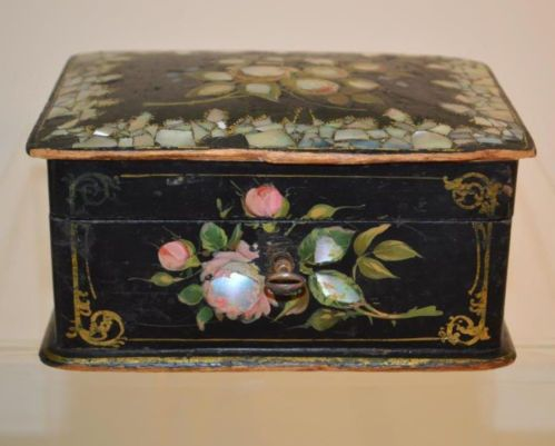 Antique French Black Paper Mache Box w Mother of Pearl Inlay Napoleon III 1800'S | eBay