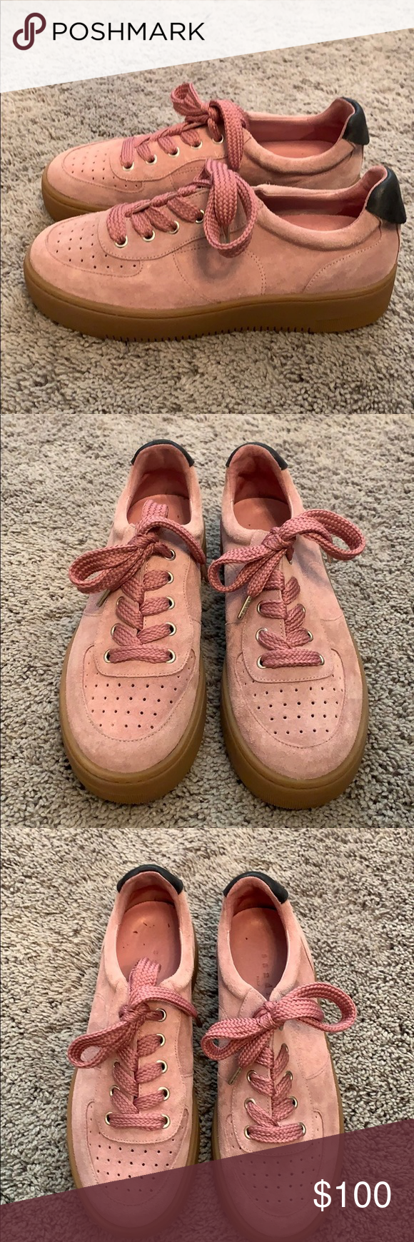 Sandro womens pink suede sneakers in