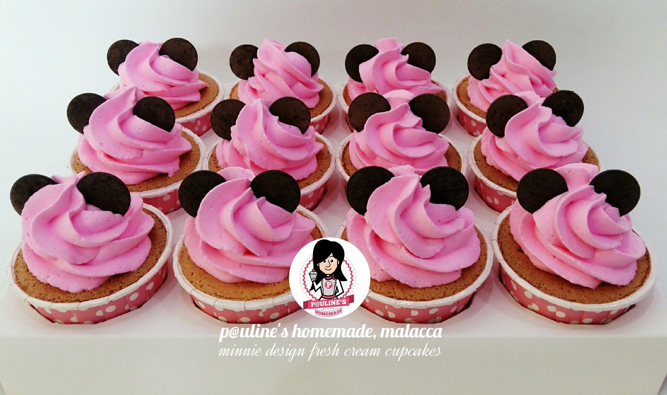 ♡ Minnie ♡ Design Fresh Cream Cupcakes