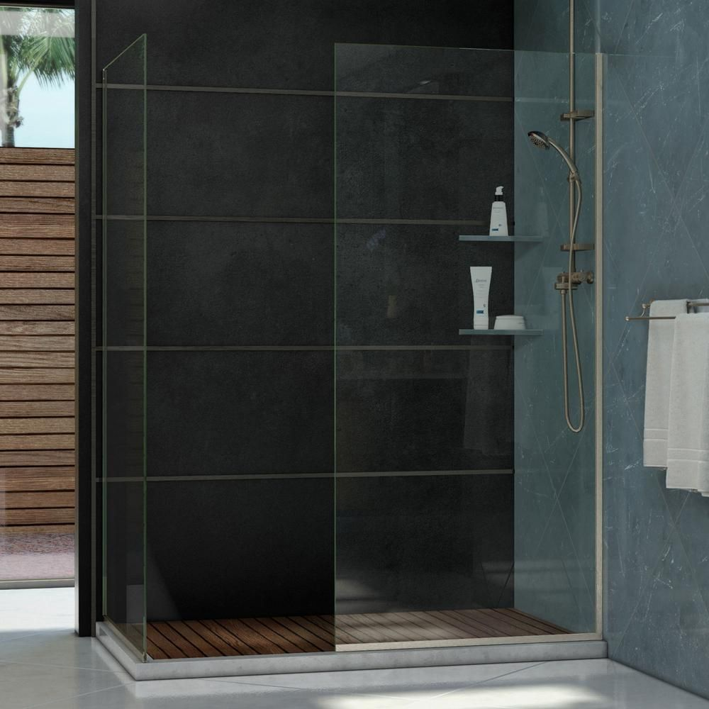 Semi Frameless Corner Fixed Open Entry Design Shower Door In Brushed Nickel