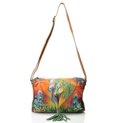 Anuschka Hand-Painted Leather Tasseled Flap-over Shoulder Bag