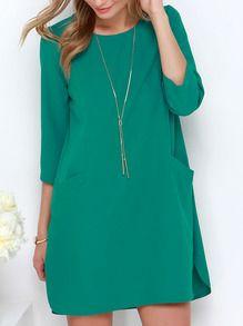 Green Long Sleeve Pockets Dress