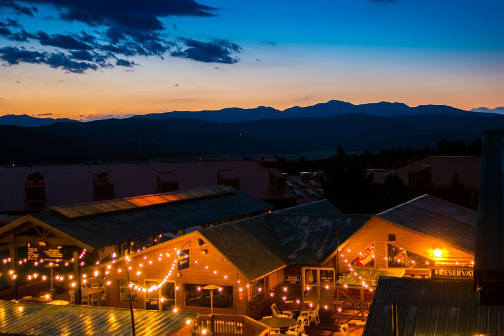 Base Area At Sunset With Vintage Style String Lights Angel Fire Resort Weddings