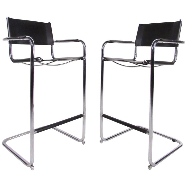 Pair Of Mid Century Style Chrome And Leather Cantilever Bar Stools Bar Stools Bar Furniture Bar Furniture For Sale