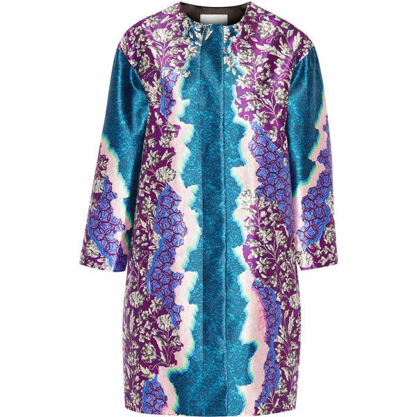 Peter Pilotto SK printed silk-twill coat (£640) ❤ liked on Polyvore featuring outerwear, coats, blue, blue coat, peter pilotto, multi colored coat and colorful coat