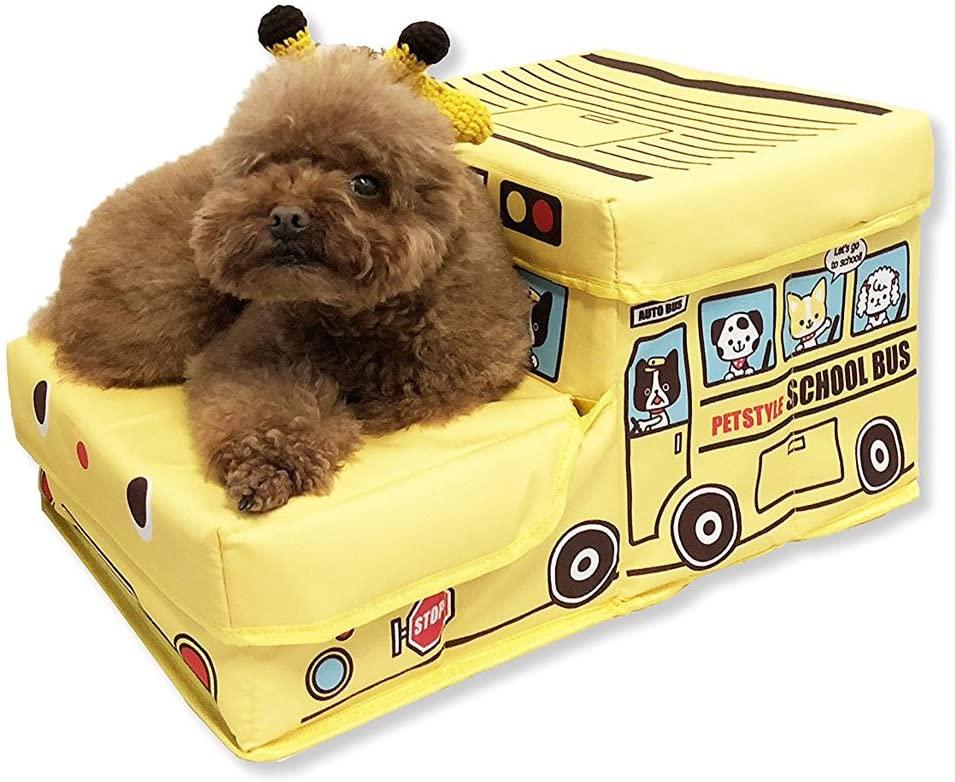 Amazon Gifty 犬用 バス型収納ステップ 階段 踏み台 2段 ドッグ ステップ スロープ ヘルニア防止 猫用 小型犬用 ペット用 イエロー Gifty ステップ 通販 ドッグステップ 踏み台 小型犬