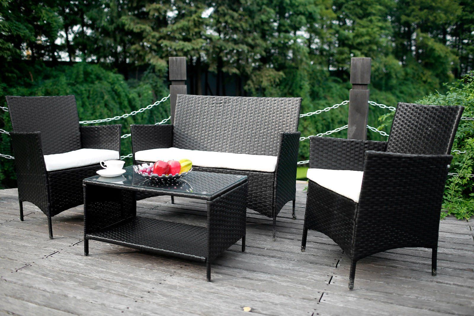 Trending pcs outdoor rattan wicker patio set garden lawn rattan