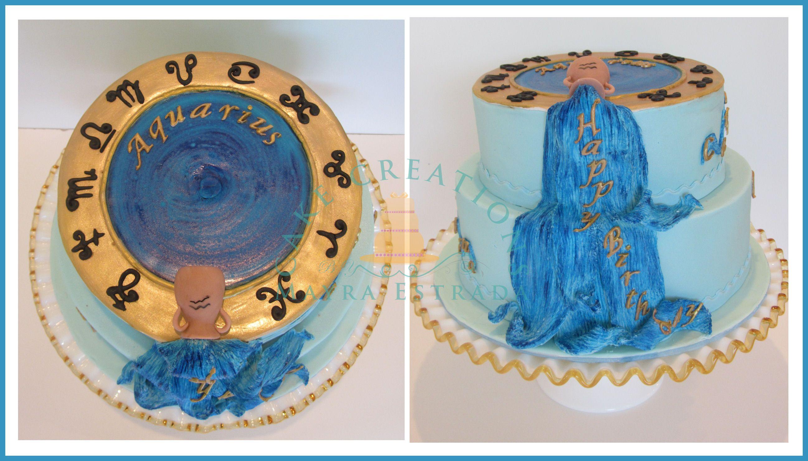 Aquarius Themed Birthday Cake