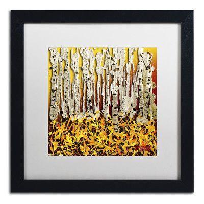 "Trademark Art ""Silver Aspens"" by Roderick Stevens Framed Painting Print Size: 16"" H x 16"" W x 0.5"" D"