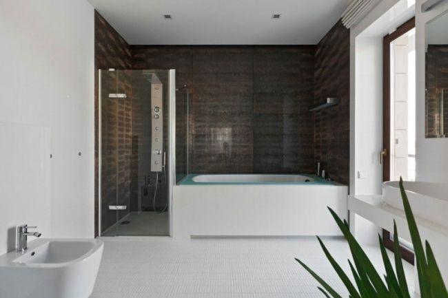 badezimmer modernes design badewanne begehbare duche weiß braun ...