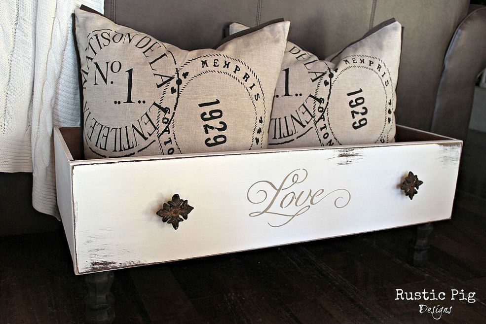 A New Use for Old Drawers - if you have a dresser that has seen better days, reuse the drawers and make them a pretty storage box like this! Neat idea for stuffed animals in a kid's room, throw blankets/pillows...I'll bet someone's cat or small dog would love it for a bed!