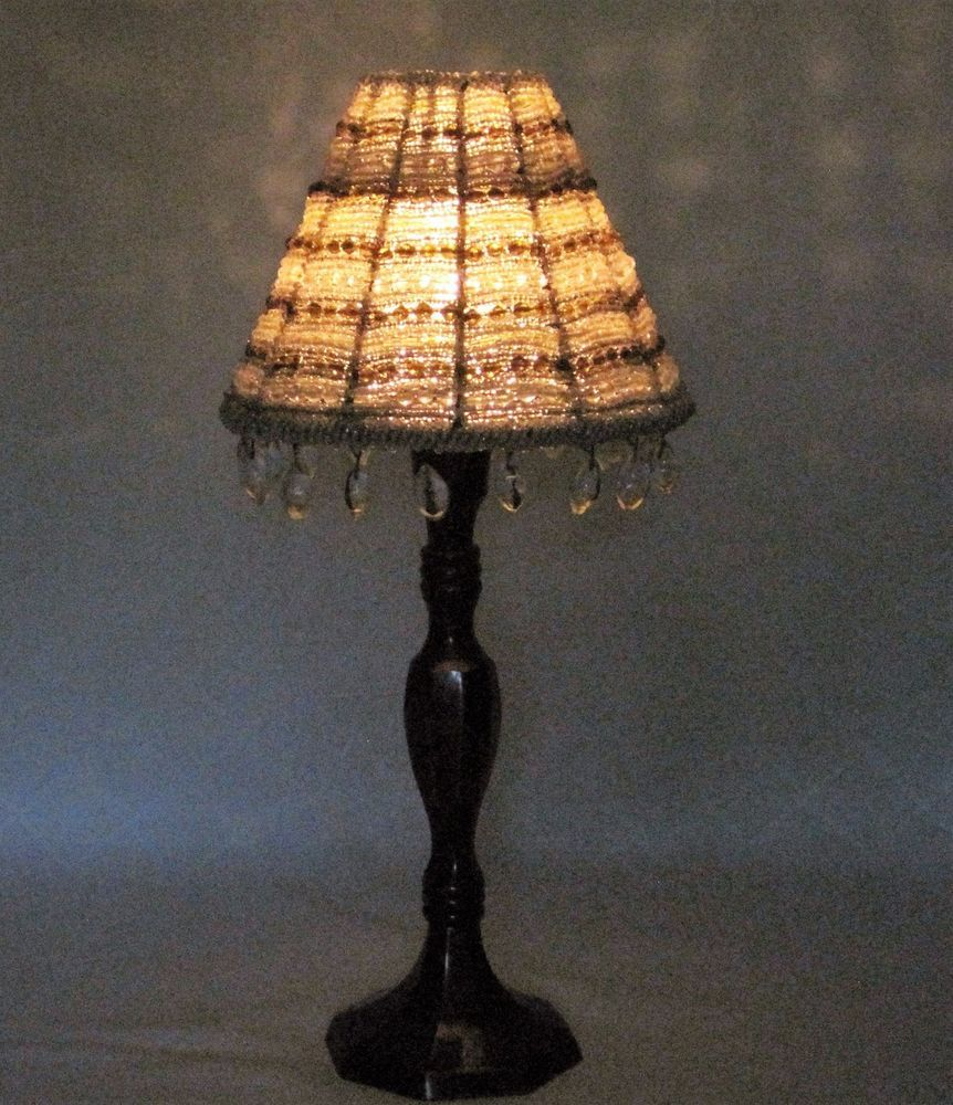 Retired partylite candle holder with beaded lamp shade dangle retired partylite candle holder with beaded lamp shade dangle beads 12 high mozeypictures Gallery