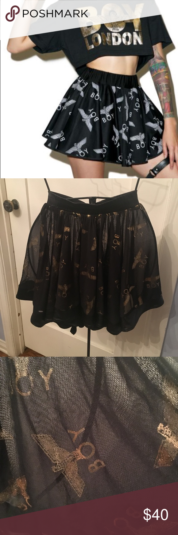 0f02ad630bbba Boy London Rara Skirt in Gold Waist measures 13