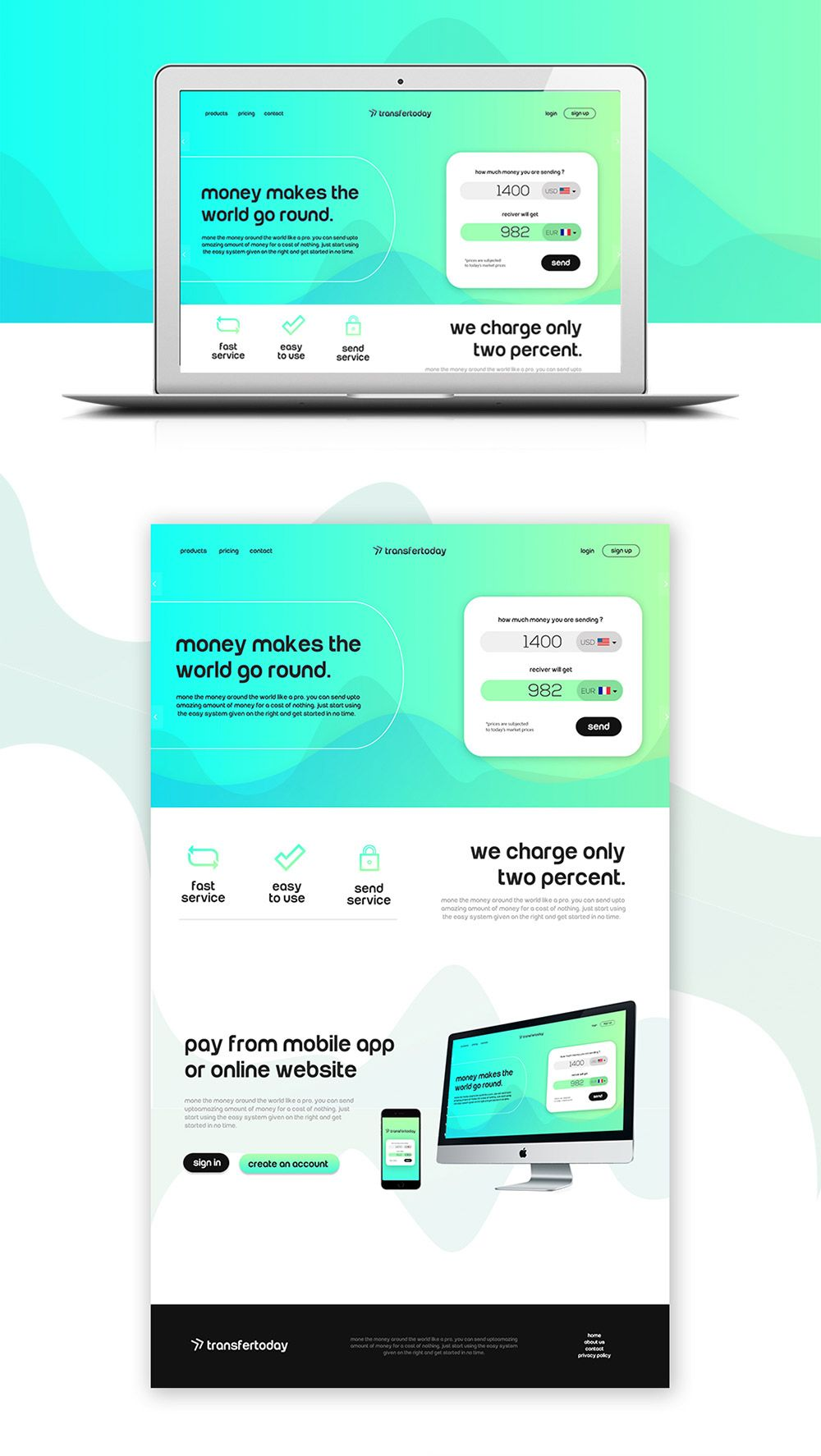 Money Transfer Website Template Free PSD Transfer