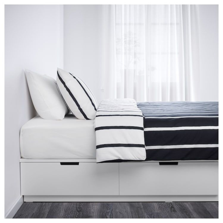 Nordli Bedframe Met Opberglades Wit 140x200 Cm Ikea Bed Frame With Storage Bedroom Storage For Small Rooms Space Saving Beds
