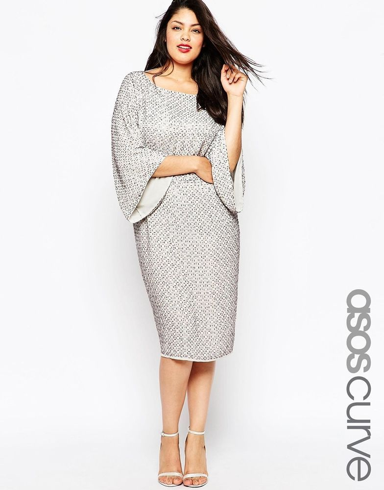 ASOS CURVE RED CARPET Sequin Grid Open Back Kimono Midi Dress Grey UK 24/US