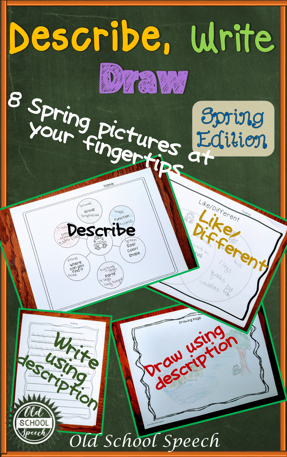 Describe Write Draw Spring Version Language Therapy Ideas Diagram Of Fingertips Each Object Has Its Own Describing The Objects Are Paired For Like Different Worksheets 4 Pages Student To