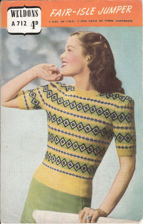 Weldons a712 fair isle jumper 34 36 bust vintage 1940s items similar to weldons fair isle jumper bust vintage knitting pattern on etsy bankloansurffo Choice Image