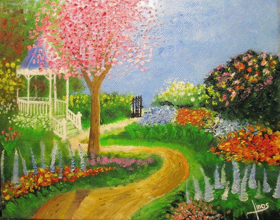Linos - Pinturas Jardín Floral Óleo en bastidor 3D. Una de mis ...