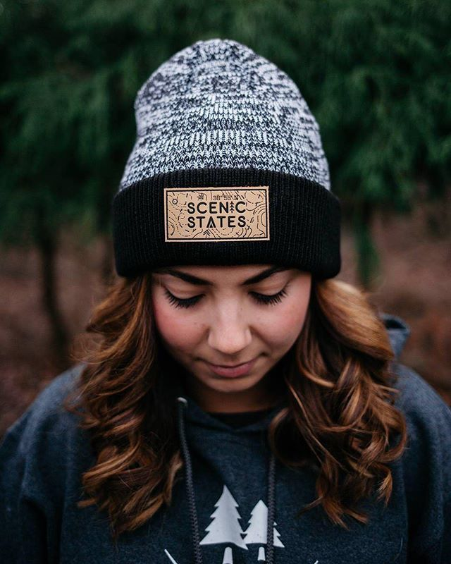 Custom Acrylic Knit Beanies for Scenic States ( scenicstates) - - front  debossed leather patch (swatch 2)  delusionmfg  headwear  hats  hat   manufacturing ... e2b6850d3855