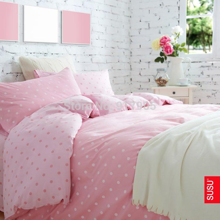 Romantic Pink Polka Dot Comforter Set, Pink Polka Dot Bedding
