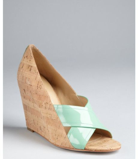 e52d292dba39d Diane Von Furstenberg Patent and Cork Tafari Covered Wedges in Beige (mint)  - Lyst