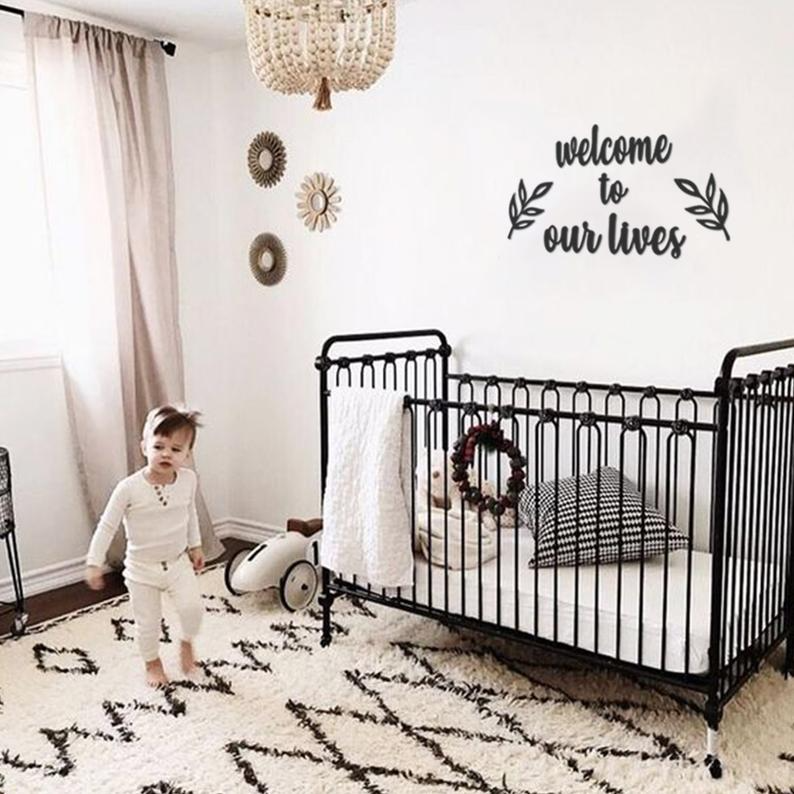 Welcome To Our Lives Baby Room Metal Wall Art Kid S Room Etsy Iron Baby Crib Cozy Nursery Baby Boy Rooms