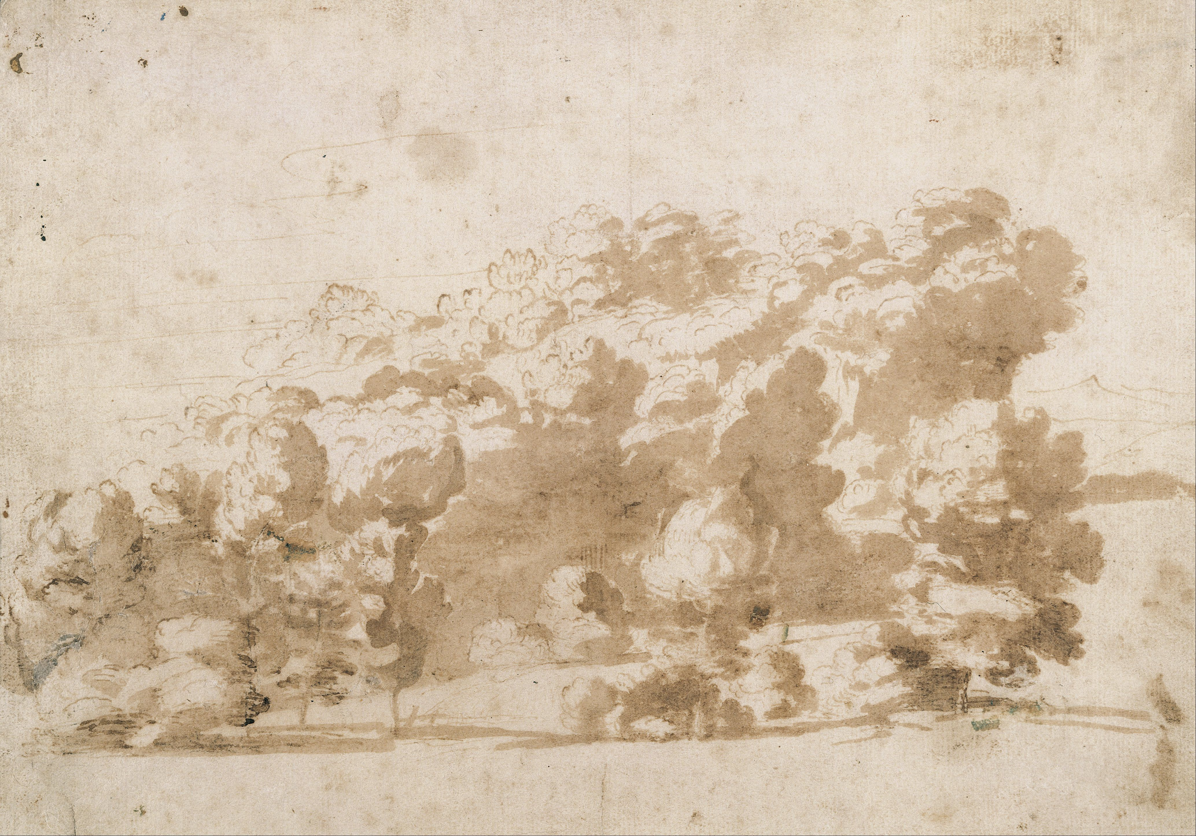 Anthony van Dyck, drawings - A wooded ridge