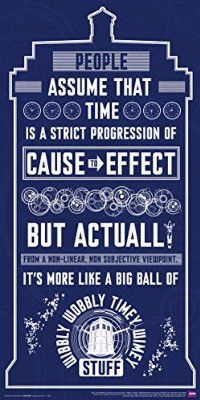 Doctor Who Wibbly Wobbly Timey Wimey Quote Tardis Blue Illustration Sci Fi British TV Television Show Poster Print 12x24