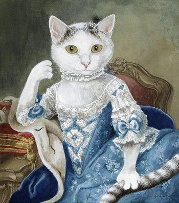 Creation Susan Herbert Illustrations Animalieres Chat Habille Peinture Chat