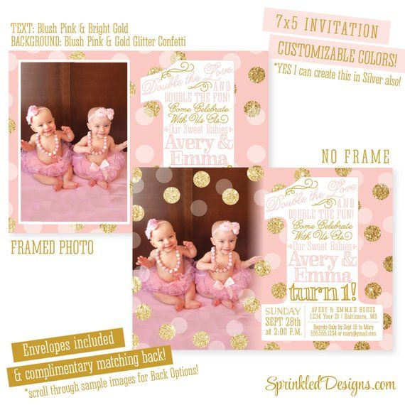Twins First Birthday Invitations Twin Girls 1st Photo Invites BIG ONE P