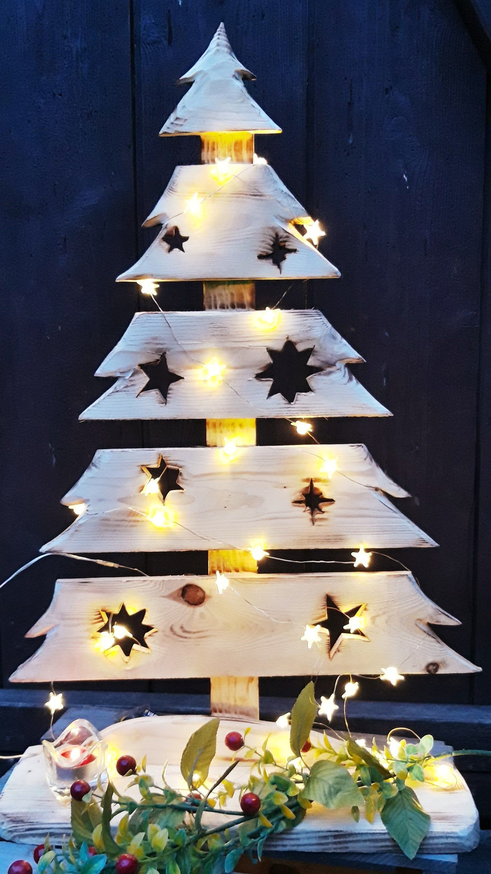 Christmas Tree Wooden Tree Advent Decoration Garden Entrance Terrace Balcony Gift Nature Or Flamed In 2020 Advent Decorations Easy Christmas Wreaths Christmas Wreaths To Make